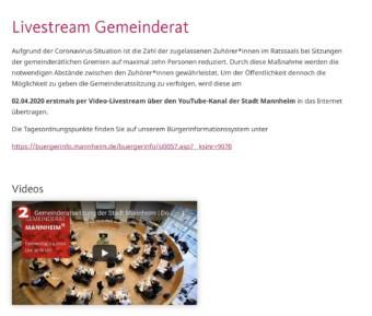 Am 02.04.2020 wird erstmals eine Sitzung des Mannheimer Gemeinderats per Video-Livestream über den YouTube-Kanal der Stadt Mannheim übertragen | Screenshot: mannheim.de