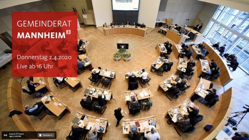 Am 02.04.2020 wird erstmals eine Sitzung des Mannheimer Gemeinderats per Video-Livestream über den YouTube-Kanal der Stadt Mannheim übertragen | Screenshot: YouTube