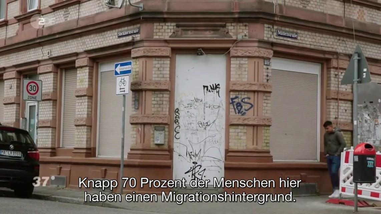 Passive Schuld tragen für das ZDF offenbar die Bewohner*innen, denn sie haben Migrationshintergrund | Screenshot: 37 Grad