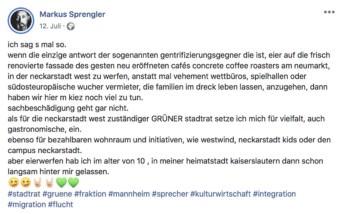 In einem Facebook-Beitrag beklagt sich der Grüne Stadtrat über einen nächtlichen Eierwurf auf das Café seines Westwind-Mitstreiters | Screenshot: Facebook
