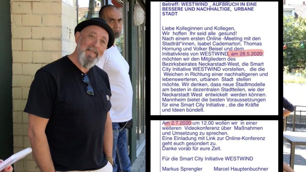 Markus Sprengler (Stadtrat Grüne) und Maik Rügemer (Netzwerk Wohnumfeld) sehen vor allem die guten Seiten des Investors | Screenshot: Neckarstadtblog