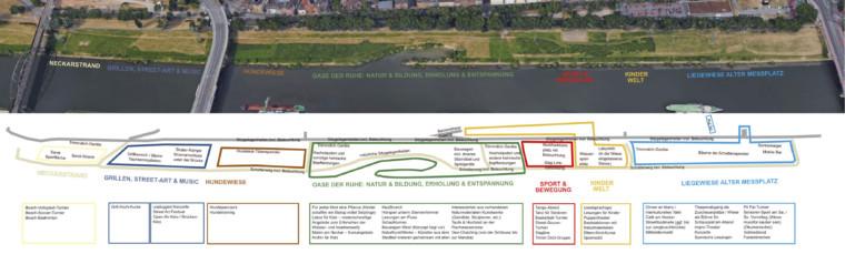 """Die unter Bürgerbeteiligung vom Quartiermanagement erstellte Konzeption für das Neckarvorland sah auf Höhe der Alphornstraße eine """"Oase der Ruhe"""" vor   Bild: Quartiermanagement Neckarstadt-West"""
