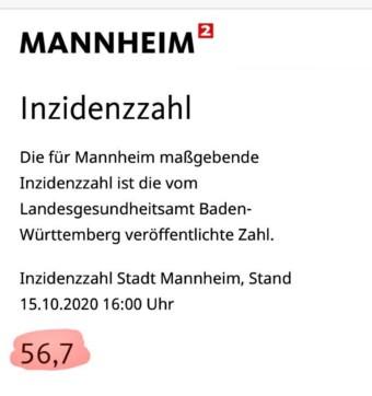 Inzidenzzahl Stadt Mannheim, Stand 15.10.2020 16:00 Uhr: 56,7 | Quelle: mannheim.de