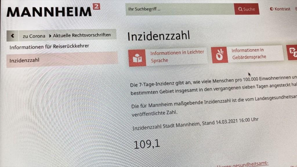 Die aktuelle Inzidenzzahl wird täglich auf der Webseite der Stadt Mannheim veröffentlicht | Quelle: mannheim.de