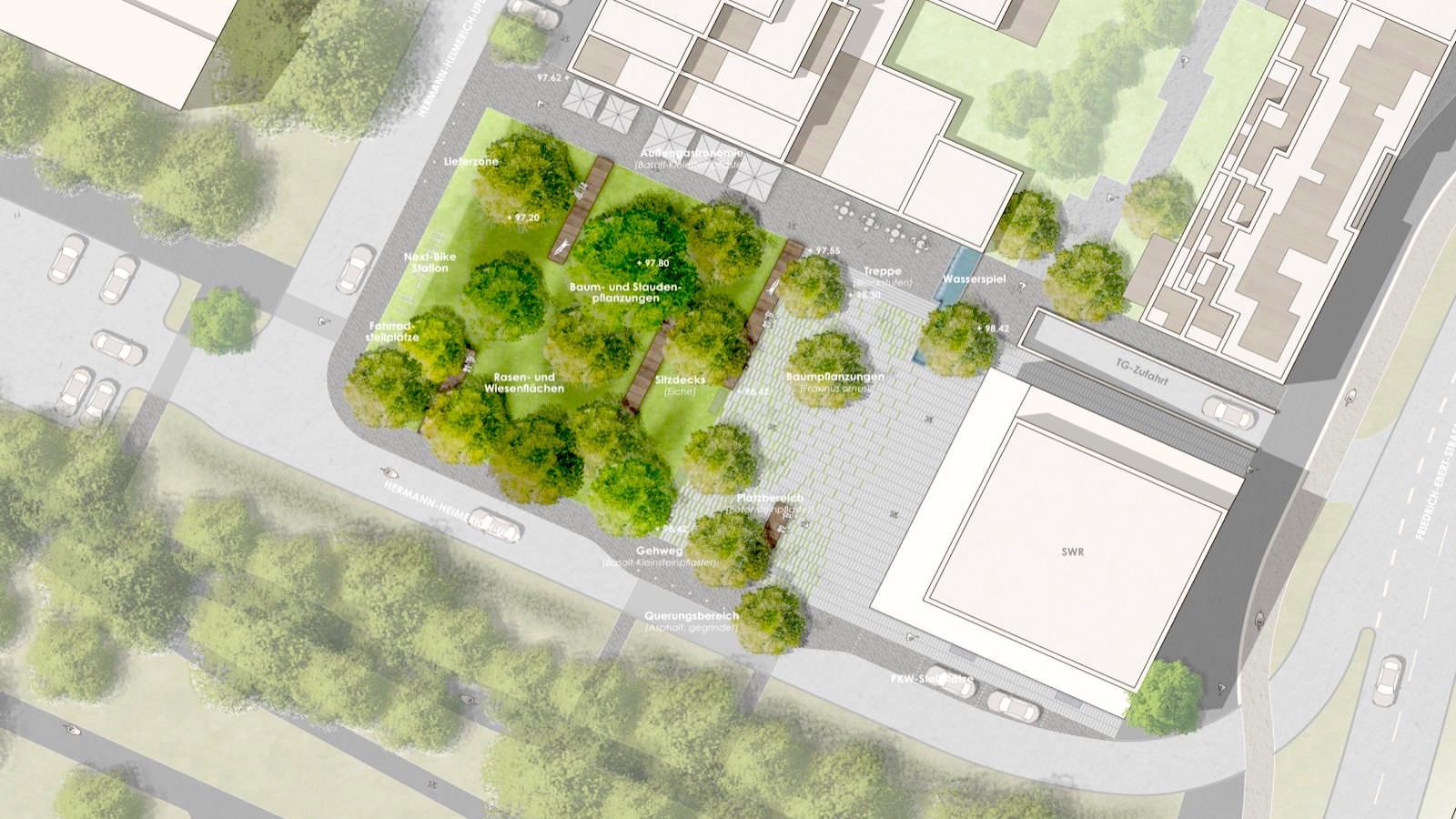 Im Planungswettbewerb zur Gestaltung der Grün- und Freiflächen auf der Schafweide ist der Entwurf des Planungsbüros BHM Planungsgesellschaft aus Bruchsal zum Sieger gekürt worden   Bild: BHM Planungsgesellschaft